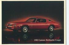 1980 Chevrolet Camero BERLINETTA Coupe Dealer Advertising Postcard A21052