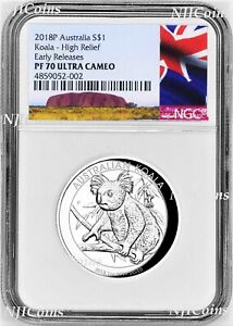 2018 P HIGH RELIEF 1oz Silver Koala $1 Coin NGC PF70 ER Australia LABEL