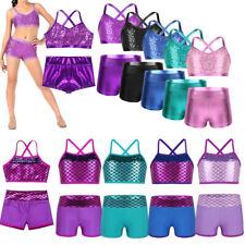 Girl Sequins Dance Outfit Kid Modern Jazz Ballroom Top+Shorts Dancewear Costumes