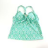 Lands End Womens Green Geometric Print Bra Lined Racerback Swim Top Tankini 16