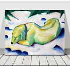 FRANZ MARC - Dog Lying in the Snow - CANVAS ART PRINT POSTER - Abstract - 18x12""