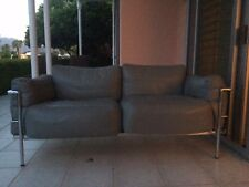 PRISTINE VINTAGE GREY LEATHER & CHROME CORBUSIER LOVESEATS 2 KNOLL HERMAN MILLER