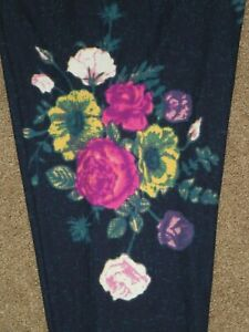 LuLaRoe OS Stunning Purple Pink ROSE Leggings Accented Navy ~ Buttery Soft