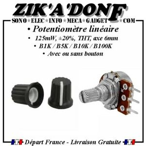 Potentiomètre B1K B2K B5K B10K B20K B50K B100K B250K B500K B1M avec/sans bouton