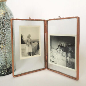 "Free Standing 5.5 x 6.3"" Double Glass Vintage Brass Photo Picture Frame"