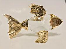 New Daniel Hand made Bohemia Crystal & Gold Bath Fish Figurine Paperweight NIB
