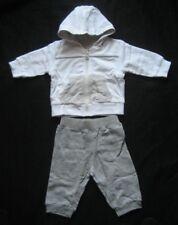 Babyset Jungen Mädchen Sweatjacke wendbar Hose Gr. 56 - 3 Monate weiß beige