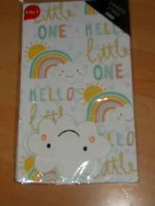 HELLO BABY LITTLE ONE 2 X SHEETS BABY GIFT WRAPPING PAPER AND 2 X TAGS