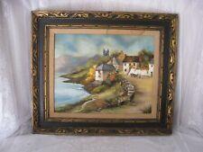 Antique Painting Oil on Canvas - Village on Sea Shore - Signed Kris Gentile