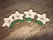Wood Wooden Flowers With Stands Talvel Nwt 4pc NWT