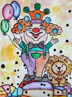 Illustration Clown Paper Ink Watercolour Ink Drawing for kids room Circus