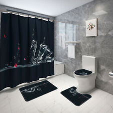 Water swan Bathroom Rug Set Shower Curtain Non Slip Toilet Lid Cover Bath Mat