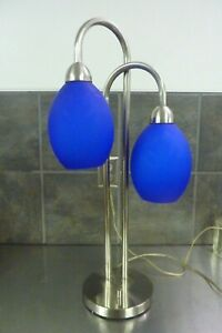 MODERN CONTEMPORARY BLUE GLASS BRUSHED NICKEL TABLE LAMP