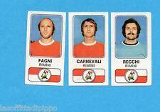 PANINI CALCIATORI 1976/77-Figurina n.477- FAGNI+CARNEVALI+RECCHI-RIMINI-Rec