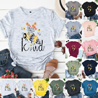 Women Short Sleeve Tee Pullover Loose Bee Letter Summer Blouse Ladies Shirt Tops
