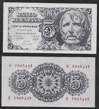 "5 Pesetas 1947 ""Séneca"". Serie B. nº 5805438. SIN CIRCULAR PLANCHA. ESCASO."