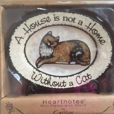 Heartnotes Mini Plate w/ Black Metal Stand--A HOUSE IS NOT A HOME WITHOUT A CAT