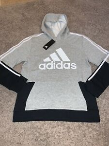 NWT Boy's Adidas Gray Black Fleece Lined Hoodie Sweatshirt Youth Large 14 - 16