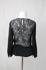 Zimmermann Black Top Blouse with Lace Back Size 1