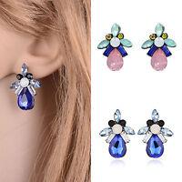Fashion Women Rhinestone Crystal Retro Insect Ear Stud Ear Clip Earrings Jewelry