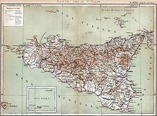SICILIA: Grande Carta Geografica. Palermo.Messina.Catania. Cromolitografia. 1893