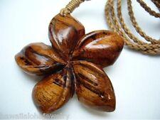 """42mm Genuine Carved Hawaiian Acacia Koa Wood Plumeria Flower Necklace 26"""" Adjust"""