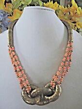 VINTAGE SNAKE BRASS Necklace  Egyptian Revival Bovine Bone Beads Tribal