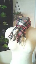 Lands' End 100% Lambswool Woven in Scotland Cream Plaid Scarf Red Blue Green Ylw