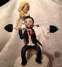 Personalizzata FIMO CAKE TOPPER-per il sollevamento pesi Sposo Sposa con