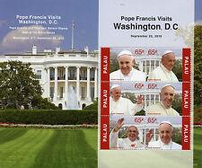 Palau 2015 MNH Pope Francis Visits Washington 6v M/S White House Popes
