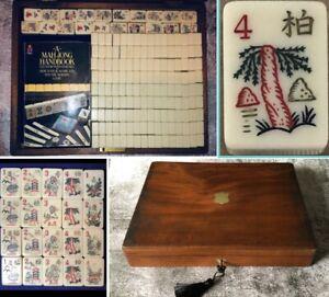 Vintage Ivorine Mah Jong Set 164 Tiles Chinese Game In Antique Locking Wood Case