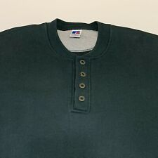 Vtg Russell Athletic Sweatshirt Cotton Blend Mens XL Green Made in USA Henley