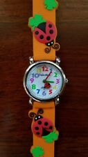 Girls Ladybug Clover Kids Watch Stainless Steel Back Orange Analog Rubber Strap