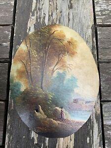 Peinture Miniature Sur Cuivre Femme Dans Un Paysage Signée Peintre Peint Tableau