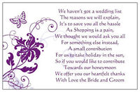 50 Wedding Poem Cards Asking For Money