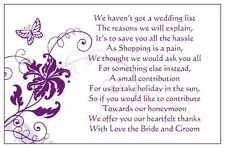 50 Wedding Poem Cards Asking For Money