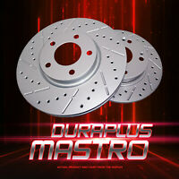 [Front Coated Drill&Slot Brake Rotors Ceramic Pads] Fit 08-14 Volvo XC70 316mm