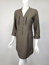 COMPTOIR DES COTONNIERS Army Green Silk Cotton Snap Front Shirt Dress FR 36 US 4