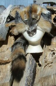 HAND MADE GRAY  FOX FUR  HAT RENDEZVOUS BLACK POWDER MOUNTAIN MAN