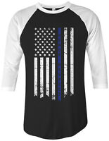 Threadrock Honor Respect Thin Blue Line Flag Unisex Raglan T-shirt