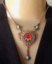 Vintage Necklace Italian Blue Micro Mosaic & Rhinestone Pendant Brass Deco Base