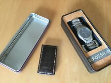 Fossil stainless watch & Patent Leather money clip.