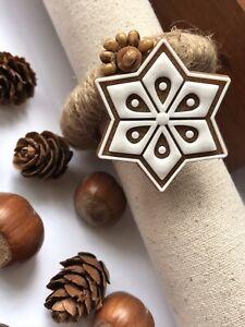 Napkin ring set of 12 Christmas Serviette holder Diner decor Xmas Handmade
