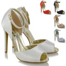 Satin Peep Toes Standard Width (D) Heels for Women