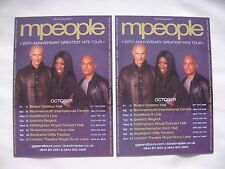 """M PEOPLE/Heather Small """"20th anniversary/hits"""" 2013 UK Tour Promo flyers x 2"""