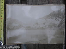 ANCIENNE PHOTO paysage de montagne avec lac et chalet A IDENTIFIER circa 1900