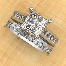 1.80 CT 14K White Gold Over Diamond Engagement Ring Wedding Band Bridal Ring Set
