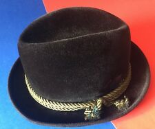 7-7 1/8 Vintage Lee Velour Stingy Brim Homburg Fedora Hat Brown Brocade Feather