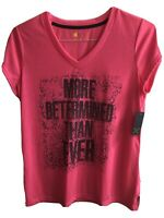 Xersion Short Sleeve V-Neck T-Shirt Women's Large Pink New With Tag