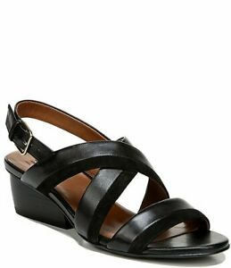 NATURALIZER Sz 8W Black Leather Block Heel Sandals CECILIA